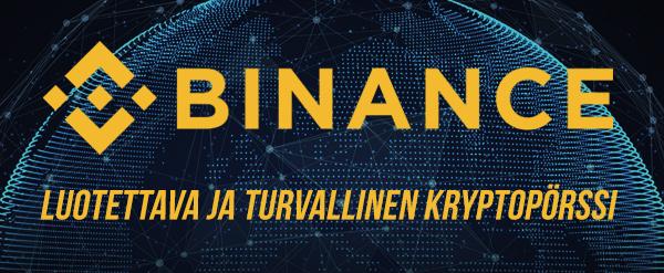 Kuva, Binance logo ja teksti luotettava ja turvallinen kryptopörssi