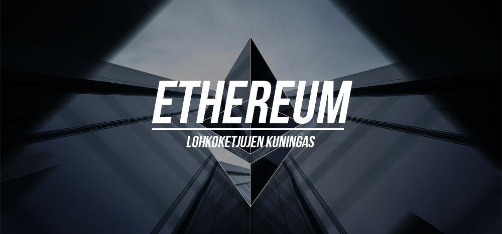 """Ethereum logo ja teksti """"Ethereum on lohkoketjujen kuningas"""""""