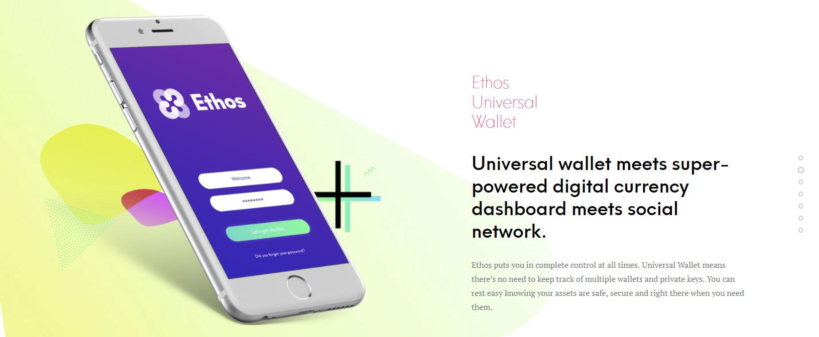 Kuva Ethos sovelluksesta puhelimessa. Kuva Ethos.io.