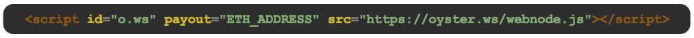 Kuva koodinpätkästä, joka aktivoi Oyster Pearlin avulla ansainnan nettisivuilla