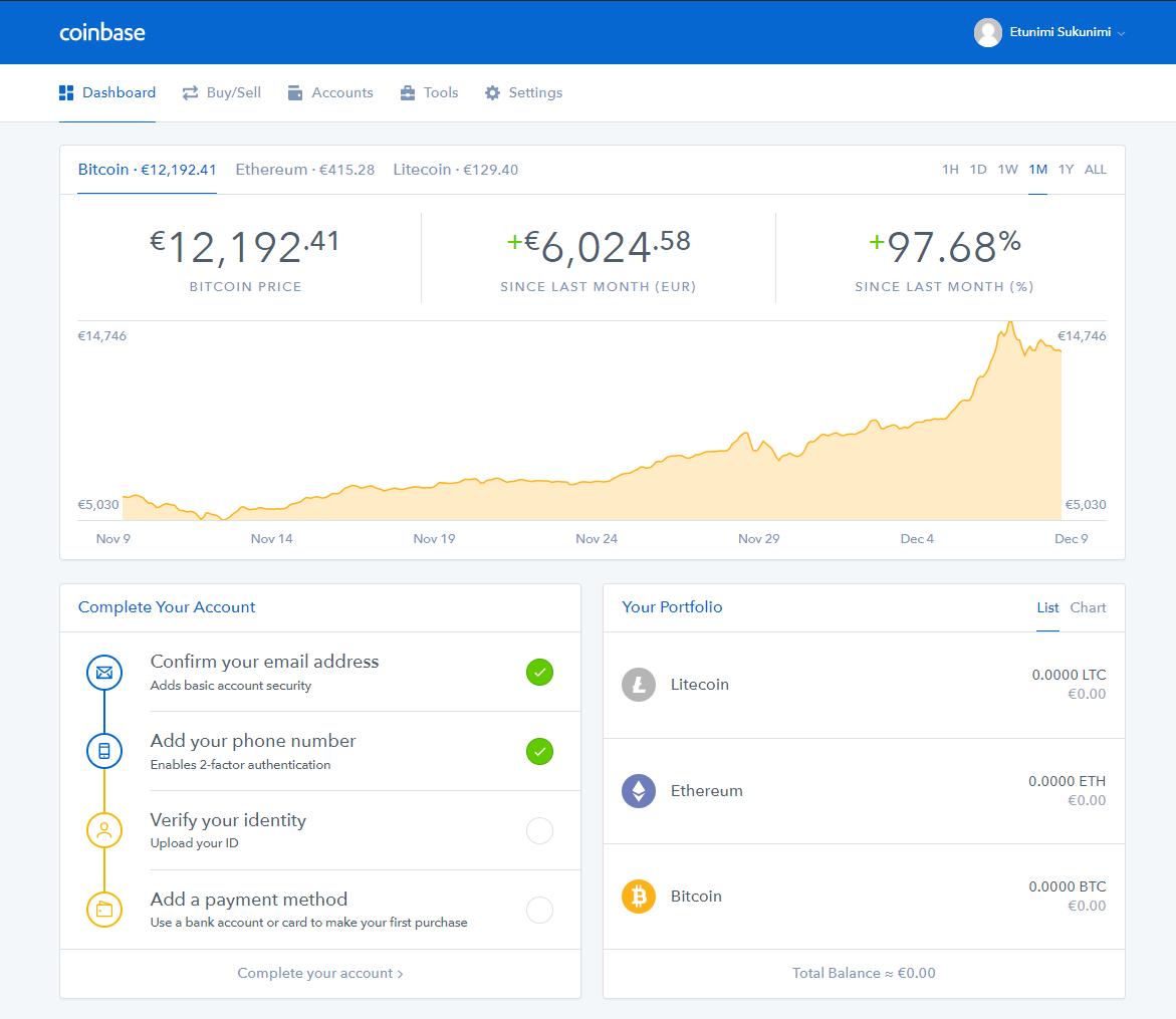 Uuden käyttäjän Coinbase sivu