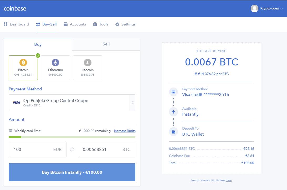 Valitse haluamasi ostovaihtoehto ostaaksesi Bitcoineja