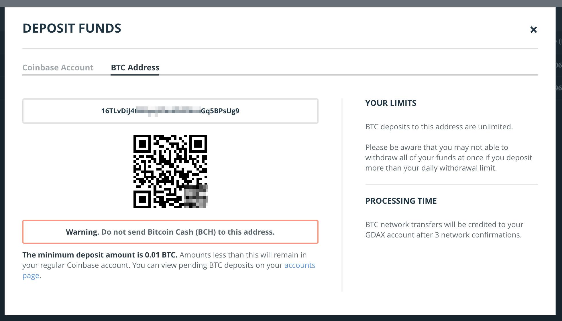 Bitcoin osoite GDAXissa