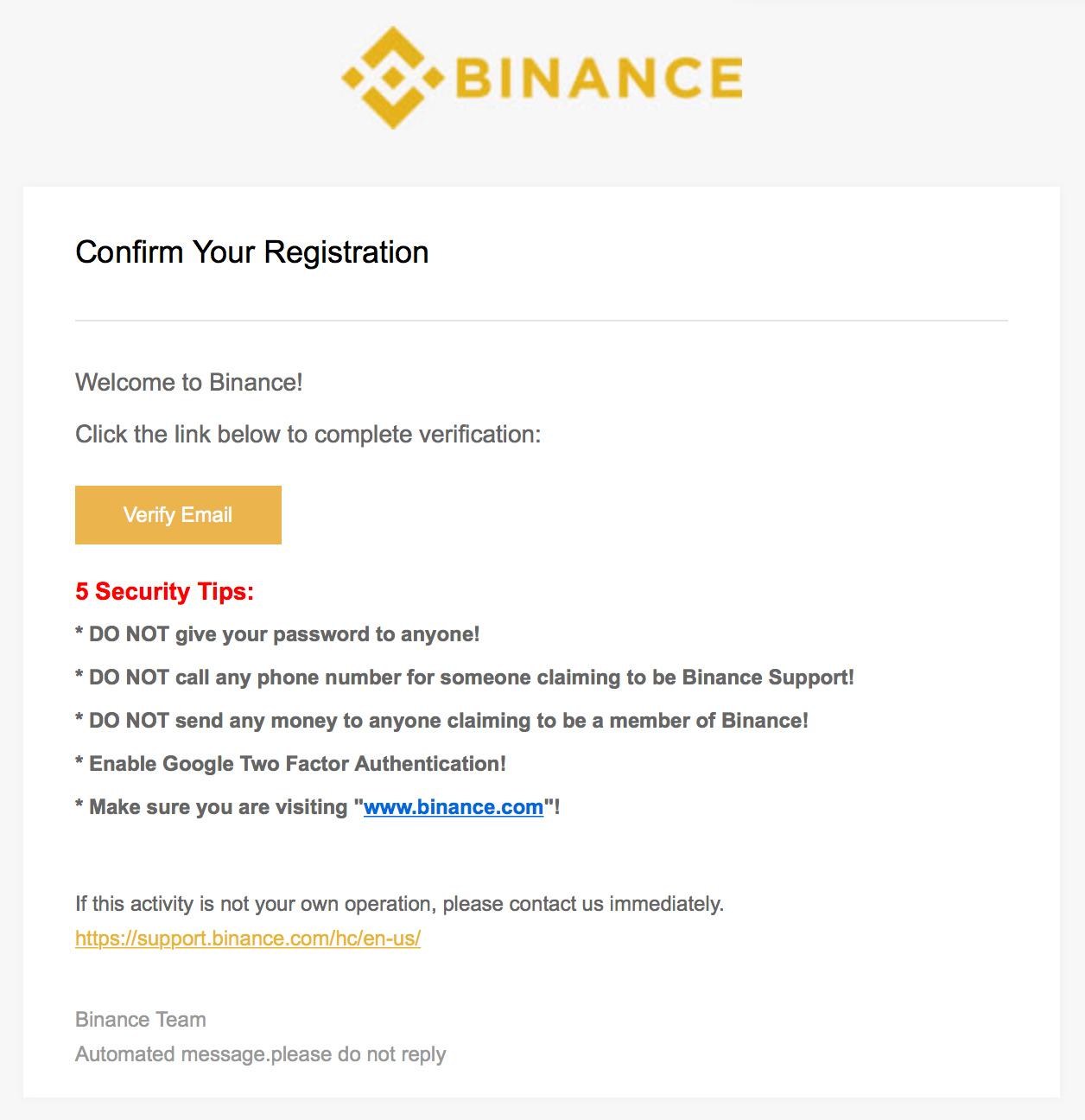 Binance email reggaus
