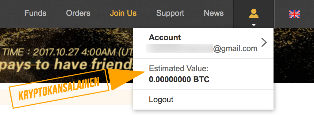 Klikkaa estimated value nähdäksesi lompakot