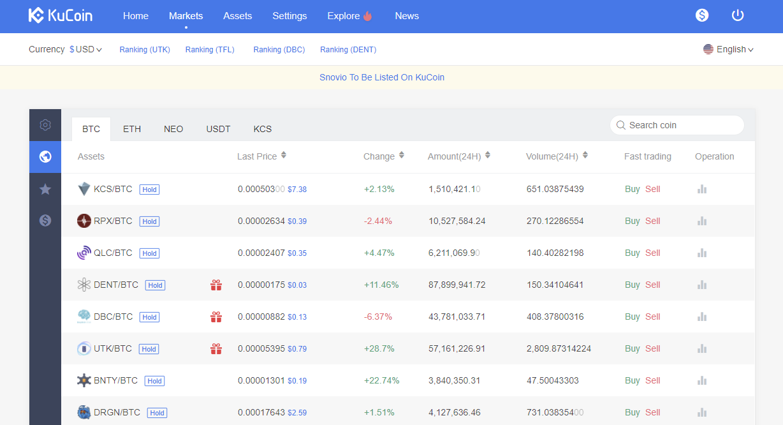 Kuva Kucoinin markets sivusta, jossa näet listan vaihdettavista kryptovaluutoista ja niiden vaihtoparit