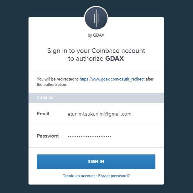 Kuva: Linkitä Coinbase ja Gdax tilit