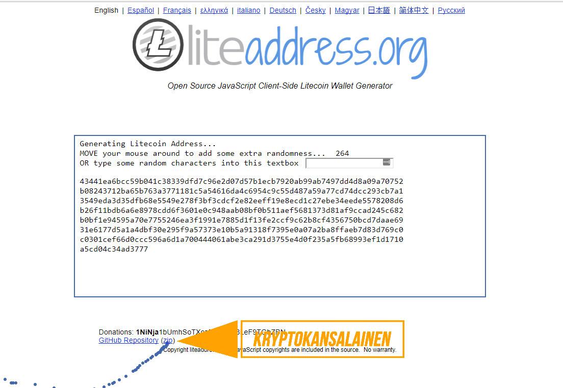 Kuva litecoinaddress.org etusivusta