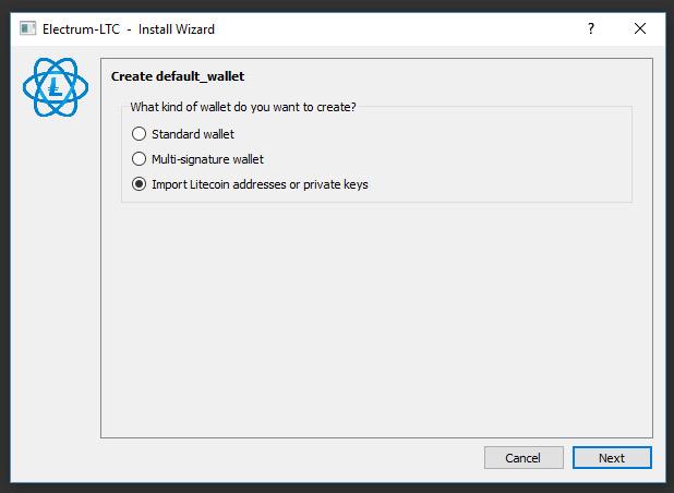 Valitse Import Litecoin addresses or Private keys