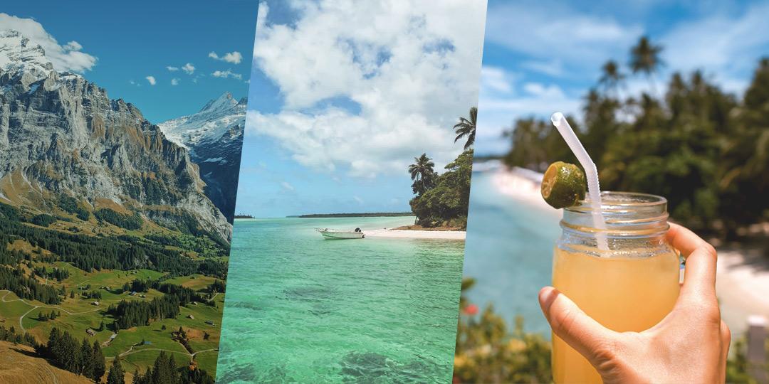 Kuva paratiisirannasta, alppien vuorilta ja hedelmäjuomasta