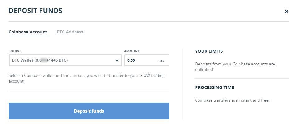 Valitse coinbase account ja kirjoita paljonko varojasi haluat siirtää